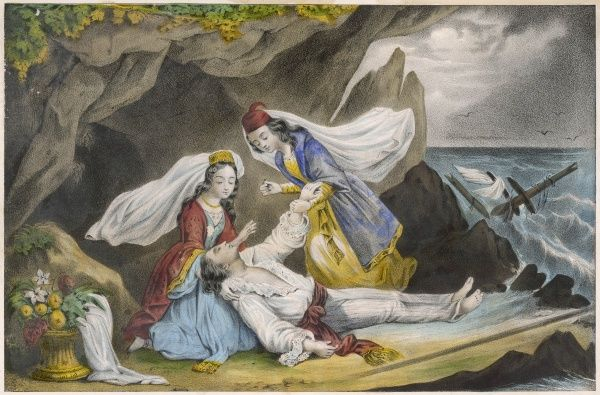 A dramatically romantic episode in the life of Don Juan - he is shipwrecked, and succoured by a pair of comely (of course) females