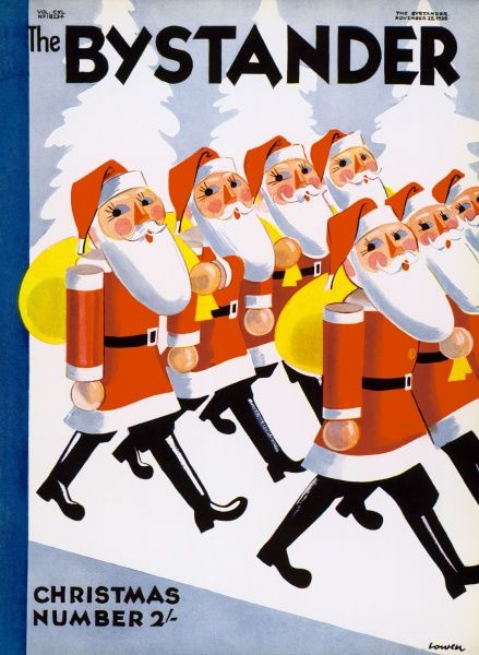 Army of marching Father Christmas's