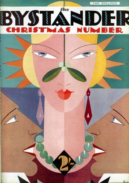 Art deco illustration for the front cover of The Bystander Christmas number showing an elegant woman being admired by two men
