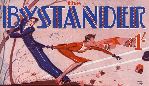 Front cover masthead design for the Bystander featuring a couple battling amid blustery conditions. He holds on to a tree for dear life while his lady companion reaches hopelessly after their hats, blown away in the wind. Date: 1930