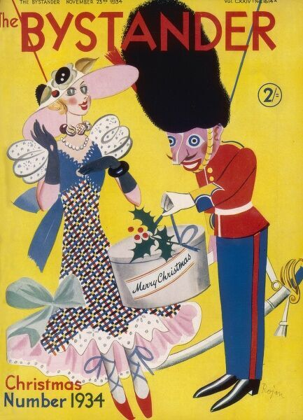 Colourful front cover of The Bystander depicting a puppet guardsman in a bearskin presenting a pretty lady puppet in typical flounced dress and hat of 1934 with a Christmas present, which looks suspiciously like a hat box