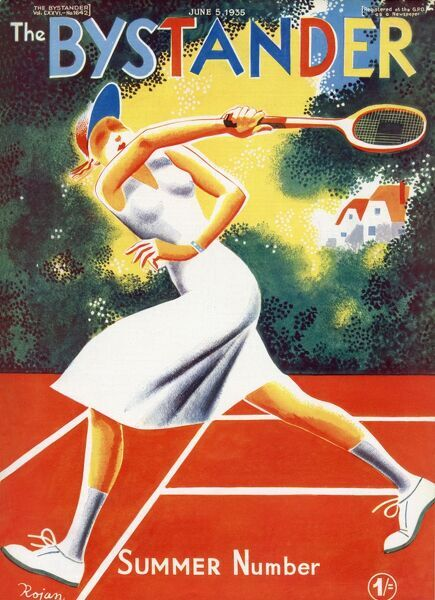 Gloriously colourful front cover of The Bystander's Summer Number featuring an athletic lady tennis playing enjoying a match on a suburban court