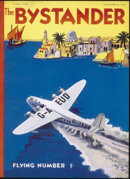 Colourful, graphic front cover design by Lowen for The Bystander Flying Number featuring a seaplane landing near an exotic Mediterranean location
