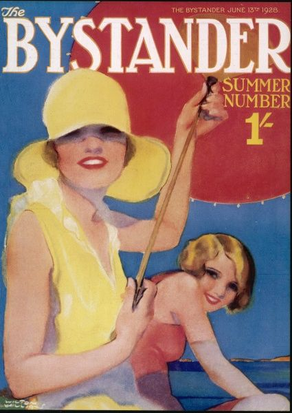 A bold, colourful cover for The Bystander Summer Number featuring two attractive young women in beachwear. One, wearing a hat and holding a parasol, is more sensible of the sun