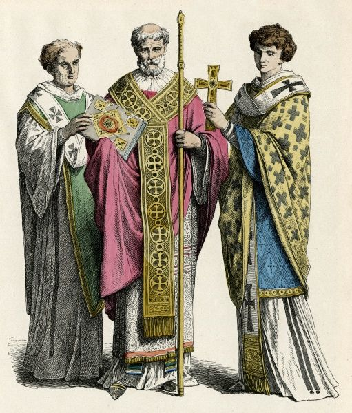 Byzantine Deacon (left), bishop (middle) and Levite (right). Date: 5th century