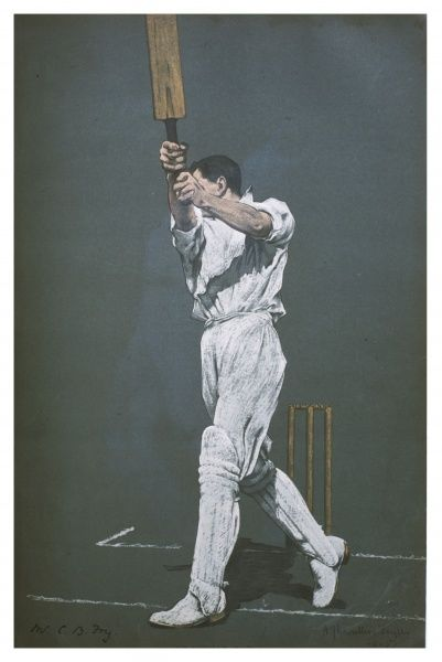 Charles Burgess Fry - the great batsman for Sussex and England following through a fine on-drive