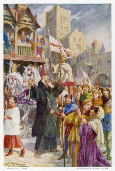Procession of children during their Crusade, started by Stephen, a shepherd boy who was persuaded by a priest that he was appointed by heaven to recover the holy sepulchre