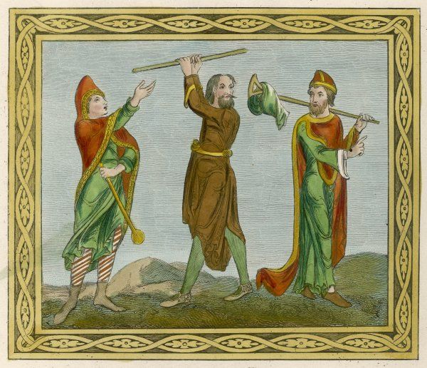 Three Anglo-Norman men in outdoor dress