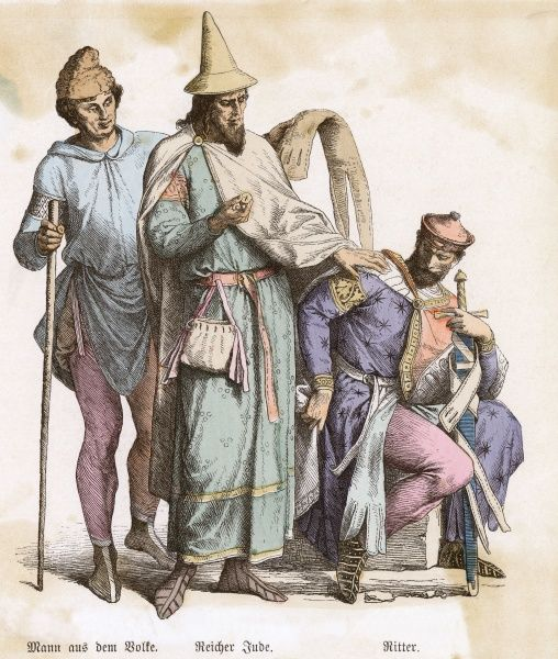 Labourer: Phrygian cap, hooded tunic hitched up, long stockings & short boots. Rich Jew: conical hat with brim, mantle pinned with a brooch, super-tunic, girdle & pouch. Date: 12th century
