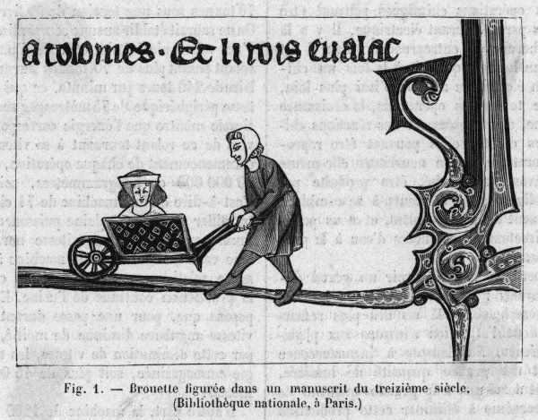 A lady is wheeled in a brouette