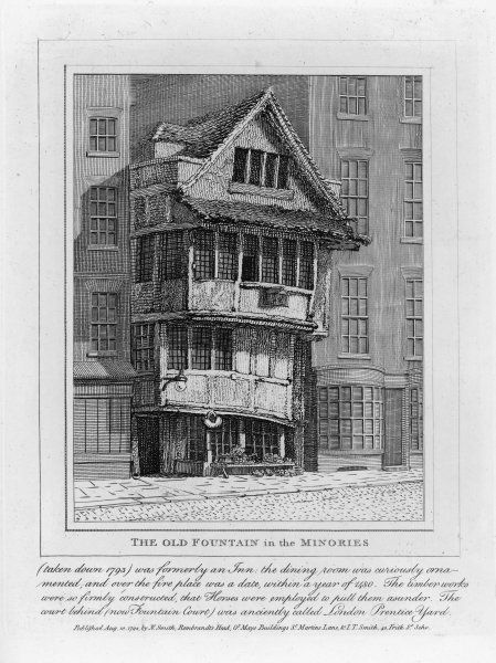 The 'Old Fountain' in the Minories, London, so solidly built that three horses were needed to pull the timbers apart when it was demolished in 1793