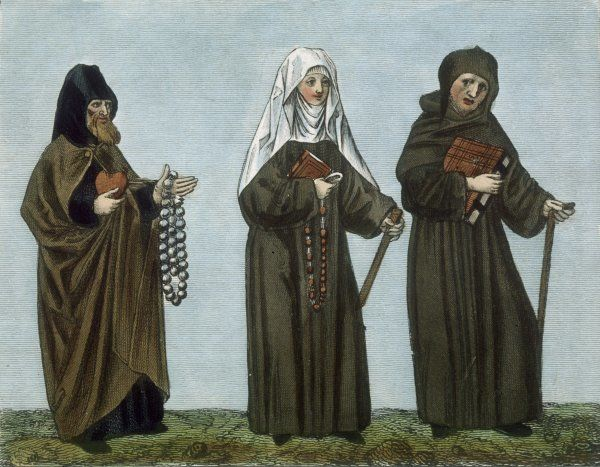 Ecclesiastical habits, a pilgrim, a nun and a monk - two of them carrying their beads, for this is before the Reformation