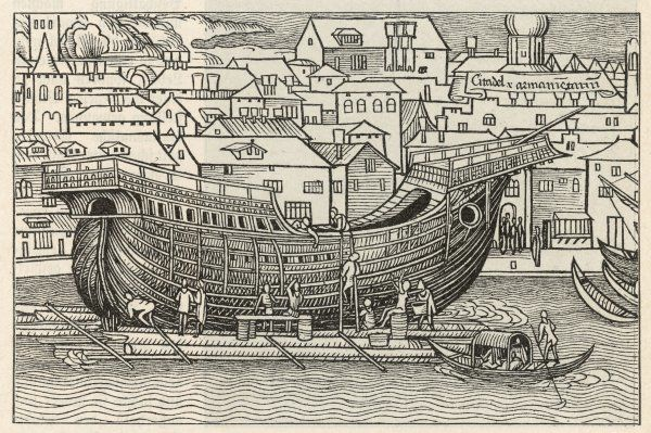 The construction of a galleon in a floating dock close to a town