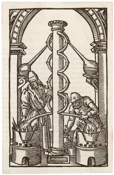 An alchemist and his assistant heat the substances whose essence will collect in the flasks at the top of the apparatus, shedding impurities as they rise up the column