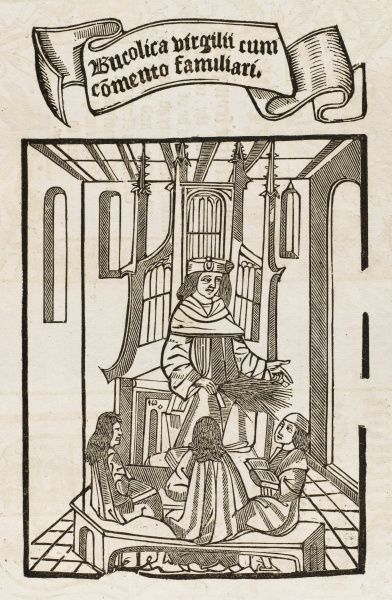 A schoolmaster, birch in hand, instructs three pupils : title page to an unidentified book of grammar