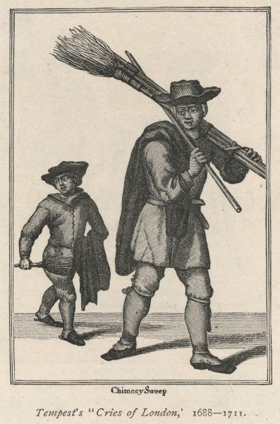A chimney sweep and his apprentice, who was sent up the chimney