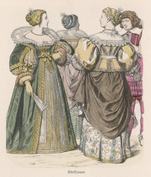 French noblewomen: lace falling collar & collars that mark the transition between that & the ruff; padded sleeves, double-skirts tabbed bodices