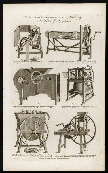 'New Invented Implements used in Husbandry' - cutting, winnowing, threshing, cutting and grinding machines illustrative of the revolution in farming then proceeding