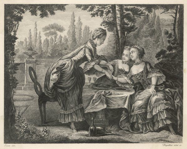 Three well-bred ladies in a walled garden partake of a glass or two of wine. One lady rises from her seat holding the other ladies by the hands to bid a fond farwell