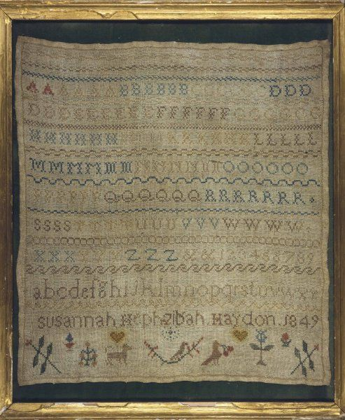 A beautiful sampler by Susannah Hephzibah Haydon, depicting the alphabet in both lower and upper case, and bordered with flowers, hearts and animals