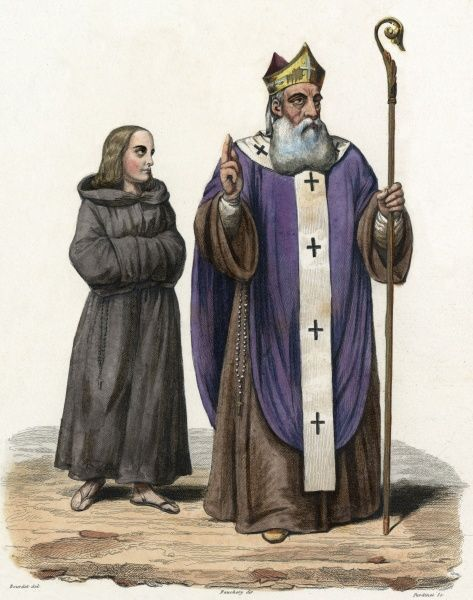 A French abbot, with his acolyte Date: 8th century