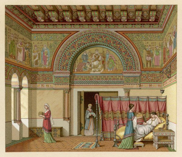 A noble household : the lady of the house is waited on by her retainers in a richly ornamented salon