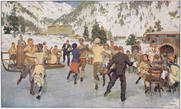 A wintery scene showing skaters dancing to music on the ice at a mountain resort