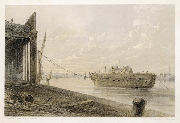 The cable is passed from the works to a hulk at Greenwich, from which it will be passed into tanks for loading aboard the 'Great Eastern&#39