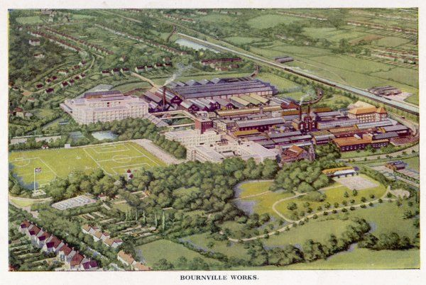 Cadbury's; a bird's eye view of the Bournville Works and the workers' homes