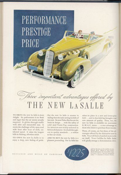Performance - Prestige - Price - your three reasons for buying a La Salle convertible from Cadillac