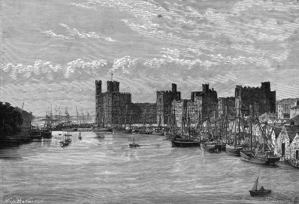 Built by Edward I, Caernarvon Castle is one of Europe's great Medieval fortresses. The Prince of Wales was invested at Caernarvon. Date: late 19th century