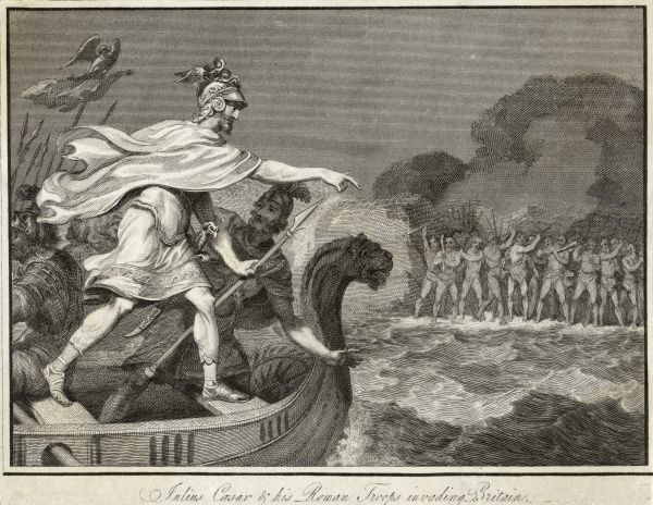 Caesar's first invasion attempt - he rows ashore with his troops ready to face British soldiers