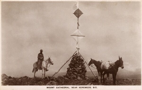 Cairn on the summit of Mount Cathedral, near Keremeos, British Columbia, Canada. Date: circa 1910s