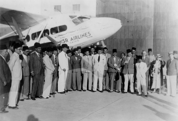 The inaguration of the Cairo (Egypt) to Baghdad (Iraq) regular airline service. Egyptair's plane 'Good Fortune' took off from Almaza Airport and had a smooth trip. Date: 11 September 1936