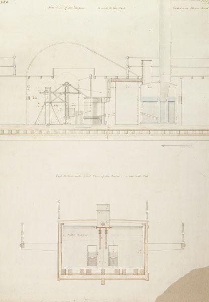 Caledonia steam boat, side view of an engine, cross section with front view of the boilers Date: 1817