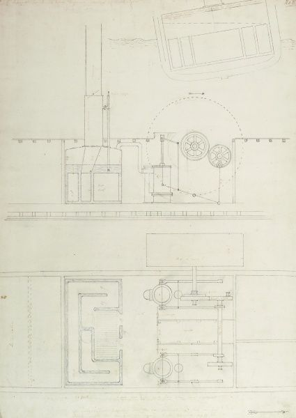 Caledonia steam yacht sketch, a scheme for two 14 horse engines working at right angles Date: 1817