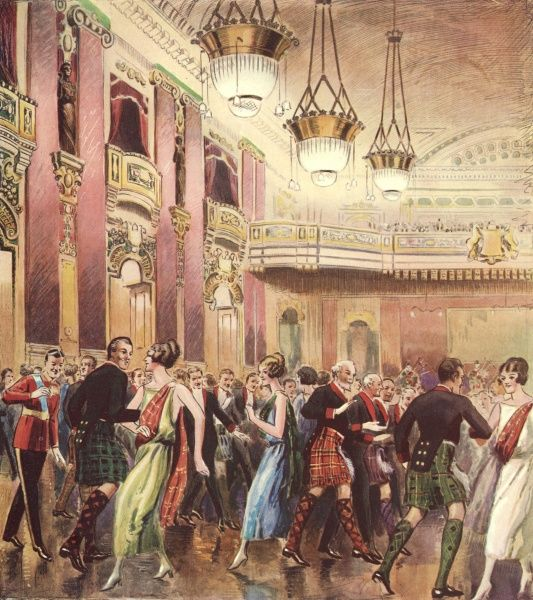 The Caledonian Ball, held annually at the Hotel Cecil, London. Date: 1924