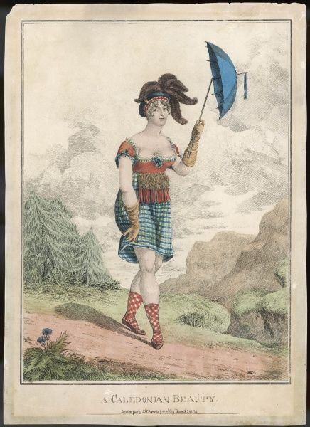 The CALEDONIAN BEAUTY, in her tartan dress and socks, her elbow-length gloves and plumed bonnet and complexion-protect- -ing parasol, hardly seems +dressed for the Highlands