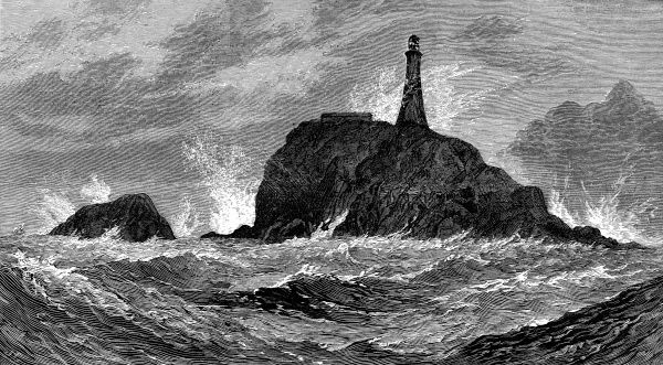 Engraving of the Calf Rock Lighthouse, Bantry Bay, which was destroyed by a severe storm on the 27th November 1881