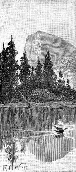 Engraving showing a mountain and lake in the Californian wilderness, 1888
