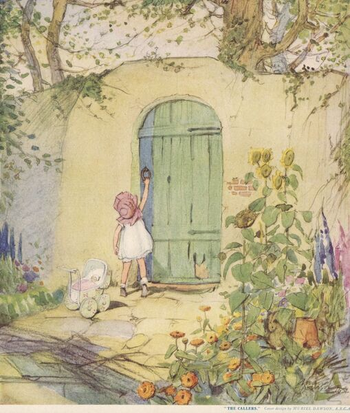 A little girl in a summer dress and sun bonnet knocks at a door and waits, with her doll in a toy pram, for it to be answered