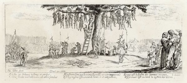 The hanging of robbers and brigands during the thirty years war