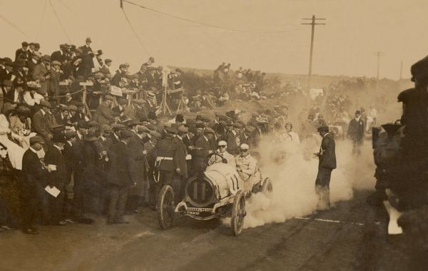 1908 Tourist Trophy Race, 24th Sept, Calthorpe 4-cylinder racing car. Known as the 'Four Inch Race' because that was the maximum size of cylinder bore allowed for entry. Race heId on Isle of Man. Driver of Car No.11 is Leslie Porter