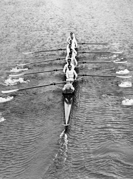 The Cambridge boat crew on their first outing on the River Thames at Henley, Surrey, England. They won the Oxford vs Cambridge boat race that year (1930)! Date: 1930