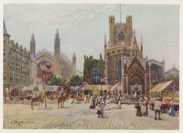 Cambridge: Market Square, with Great St Mary's on the right, and King's College Chapel on the left