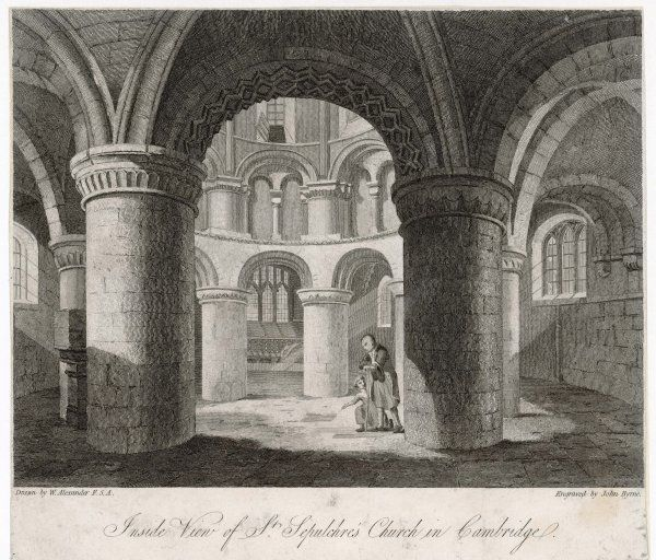 Inside view of St Sepulchre's church, known as 'the round church' because it is round