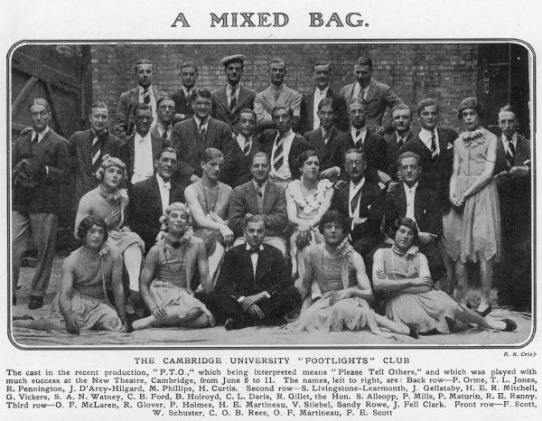 "The cast of a recent production entitled 'P.T.O' or ""Please Tell Others"" of the Cambridge University ""Footlights' Club which was played at the New Theatre, Cambridge from June 6 to 11, 1927. Significant among the cast is one V"