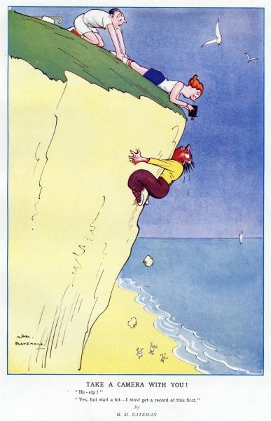 Humorous illustration by H. M. Bateman showing a rather distressed man clinging for his life to a seaside cliff while his blase companion takes his photograph. Bateman (1887-1970) was a popular artist and regularly contributed to the Sketch