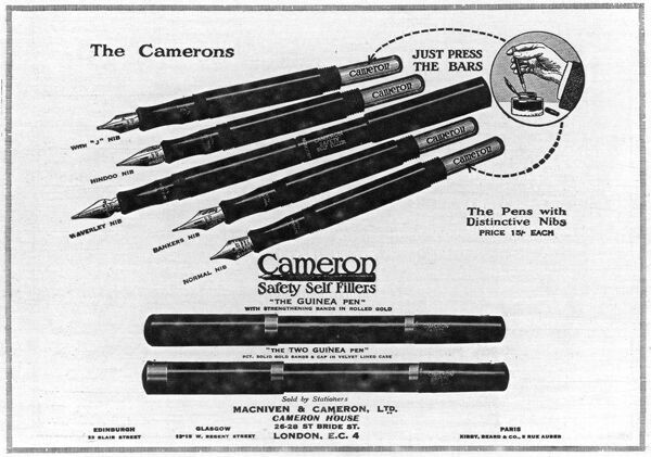 An advertisement for Cameron Safety Self Fillers, pens designed to be refillable with ink with ease