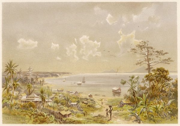 Bay of Cameroon, West Africa, at an unidentified location on the sea coast (possibly Douala)